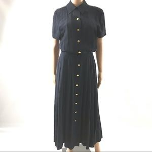 Coco Chanel Vintage Silk Dress Midi Pleated Size M